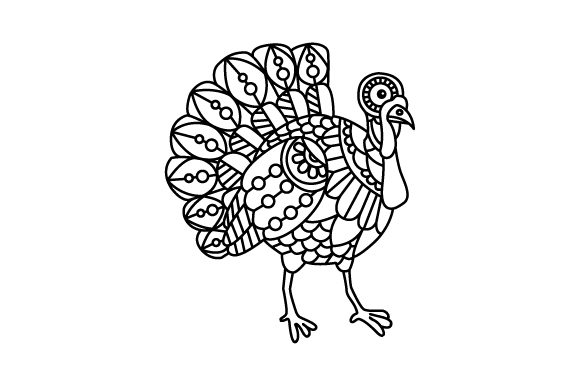 Turkey. Mandala Line Art Style (for Coloring Book) Animals Craft Cut File By Creative Fabrica Crafts - Image 1