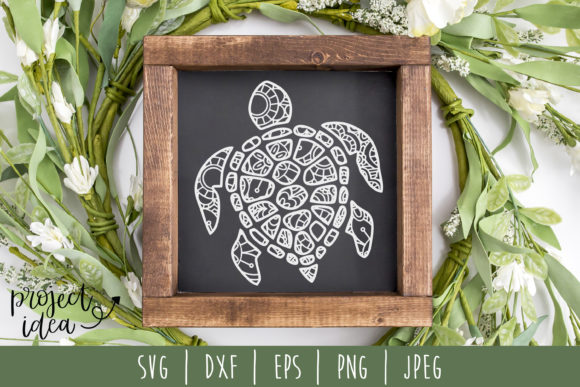 Download Free Turtle Mandala Zentangle Graphic By Savoringsurprises Creative for Cricut Explore, Silhouette and other cutting machines.
