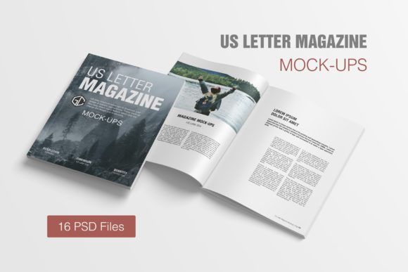 US Letter Magazine Mockups Graphic Product Mockups By graphiccrew