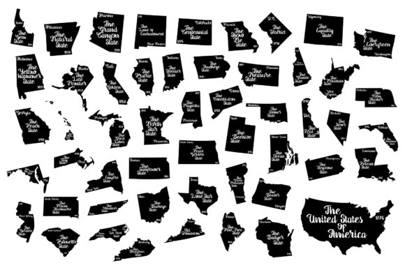 Download Free Usa Bundle State Nickname Graphic By Studio 26 Design Co for Cricut Explore, Silhouette and other cutting machines.