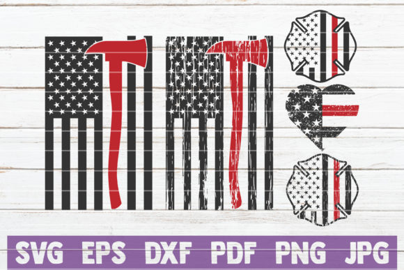 USA Firefighter Bundle | Cut Files Gráfico Crafts Por MintyMarshmallows