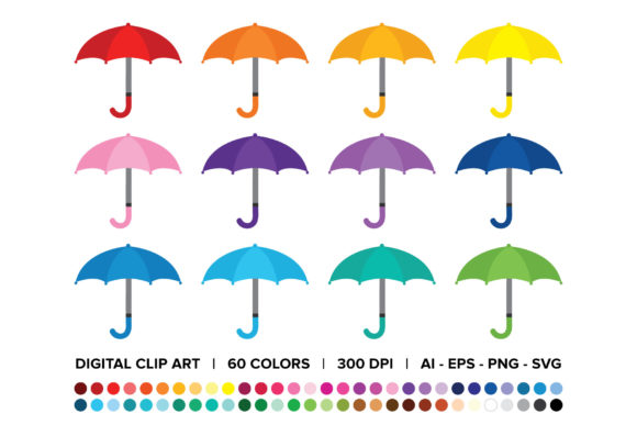 Print on Demand: Umbrellas and Raindrops Clip Art Set Graphic Objects By Running With Foxes