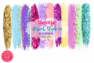 Unicorn Brush Strokes Clipart Graphic By Happy Printables Club