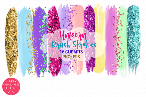 Print on Demand: Unicorn Brush Strokes Clipart Graphic Illustrations By Happy Printables Club