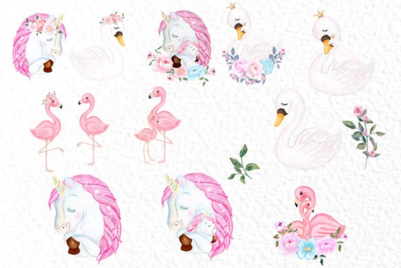 Unicorn Mother and Baby Clipart