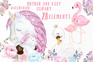 Unicorn Mother and Baby Clipart Graphic By vivastarkids