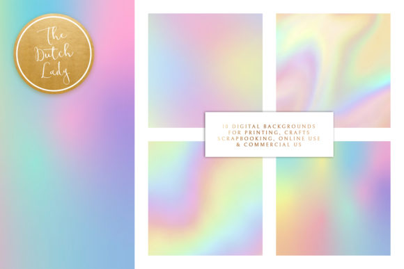 Print on Demand: Unicorn Rainbow Gradient Papers Graphic Backgrounds By daphnepopuliers - Image 2