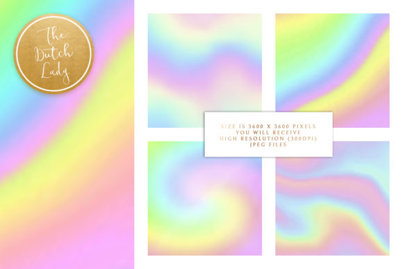 Print on Demand: Unicorn Rainbow Gradient Papers Graphic Backgrounds By daphnepopuliers - Image 3