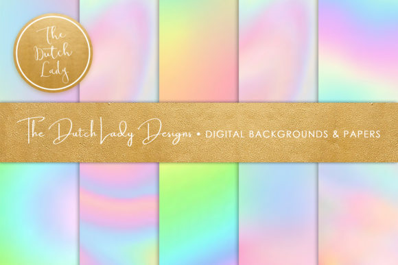 Print on Demand: Unicorn Rainbow Gradient Papers Graphic Backgrounds By daphnepopuliers - Image 1