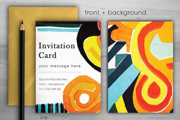 Download Free Unique Colorful Invitation Card Graphic By Margarita Dyakovich for Cricut Explore, Silhouette and other cutting machines.