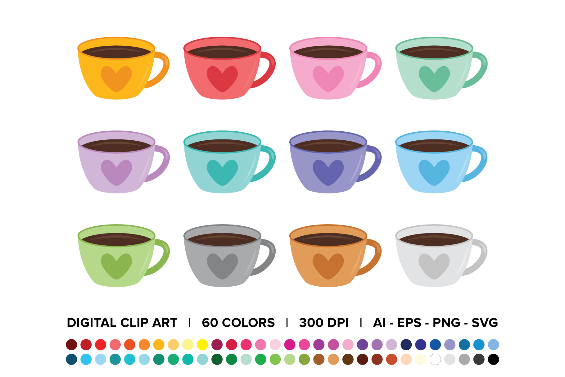 Download Free Valentine Coffee Heart Mug Clip Art Set Graphic By Running With for Cricut Explore, Silhouette and other cutting machines.