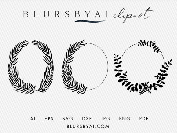 Download Free Vector Eucalyptus Silhouette Wreaths Graphic By Blursbyai for Cricut Explore, Silhouette and other cutting machines.