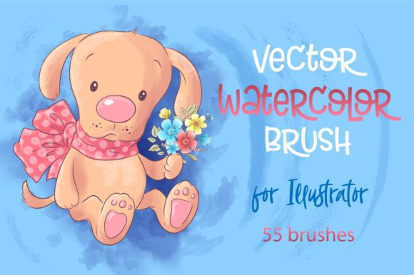 Print on Demand: Vector Watercolor Brushes Illustrator Graphic Brushes By nicjulia