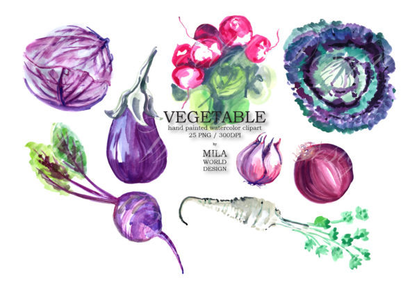 Download Free Vegetable Watercolor Clip Art Graphic By Milaworlddesing for Cricut Explore, Silhouette and other cutting machines.
