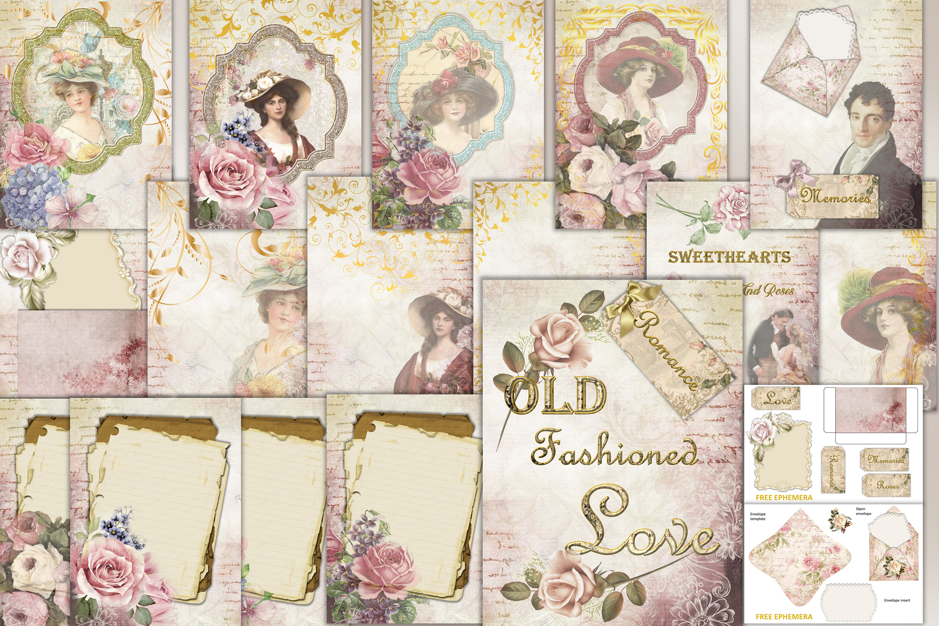 Download Free Victorian Backgrounds With Ephemera Graphic By The Paper Princess Creative Fabrica for Cricut Explore, Silhouette and other cutting machines.