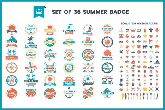 Vintage Badge & Objects Vector Set Graphic Illustrations By toonsteb