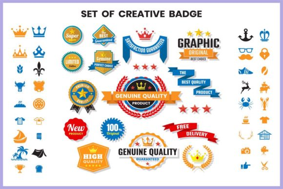 Vintage Badge & Objects Vector Set Graphic Logos By toonsteb