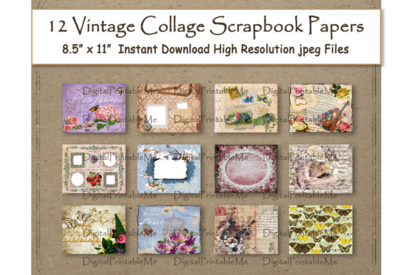 Vintage Collage Digital Paper Layouts Graphic By DigitalPrintableMe