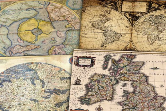 Print on Demand: Vintage Digital Maps Graphic Backgrounds By retrowalldecor - Image 2