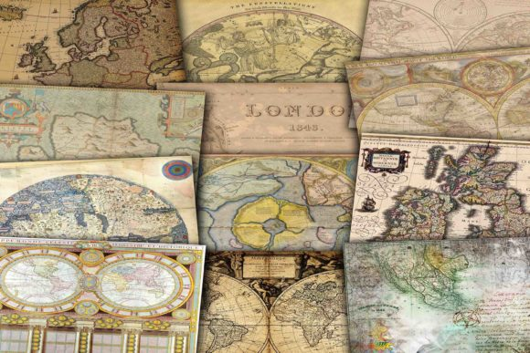 Print on Demand: Vintage Digital Maps Graphic Backgrounds By retrowalldecor