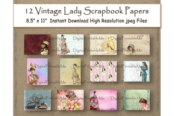 Vintage Lady Collage Digital Paper Old Graphic Backgrounds By DigitalPrintableMe - Image 1