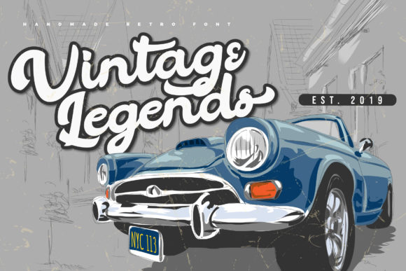 Print on Demand: Vintage Legends Script & Handwritten Font By Vunira