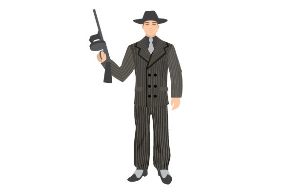 Download Free Vintage Retro Illustration Of 1940 S Gangster In Full Body Svg for Cricut Explore, Silhouette and other cutting machines.