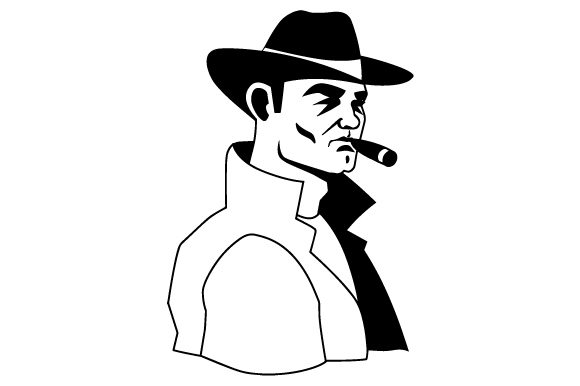 Download Free Vintage Retro Illustration Of 1940 S Gangster Shoulder Up Svg Cut for Cricut Explore, Silhouette and other cutting machines.