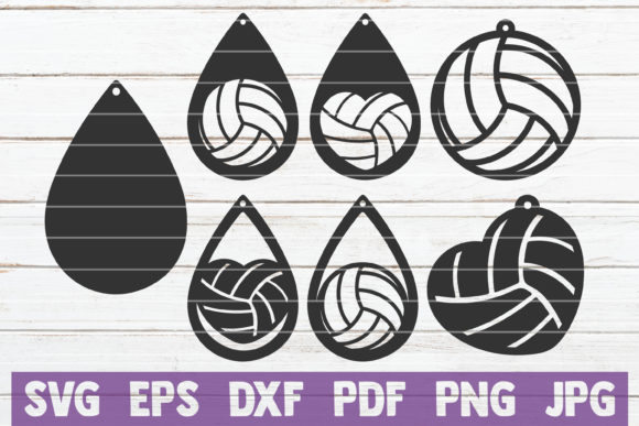 Volleyball Earrings Cut Files Graphic Graphic Templates By MintyMarshmallows - Image 1