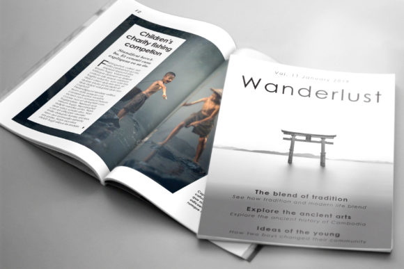 Print on Demand: Wanderlust Travel Magazine Template Graphic Print Templates By denestudios