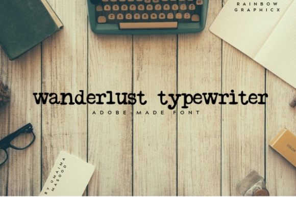 Print on Demand: Wanderlust Typewriter Manuscrita Fuente Por RainbowGraphicx