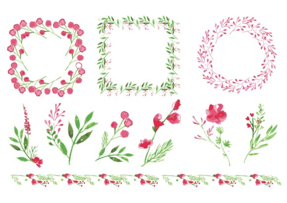 Water Color Flower Wreath in Pink Graphic Illustrations By little scar - Image 2