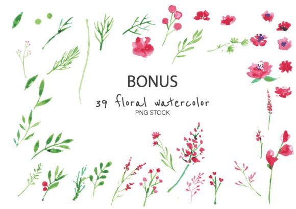 Water Color Flower Wreath in Pink Graphic Illustrations By little scar - Image 3