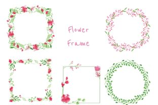 Water Color Flower Wreath in Pink Graphic By little scar