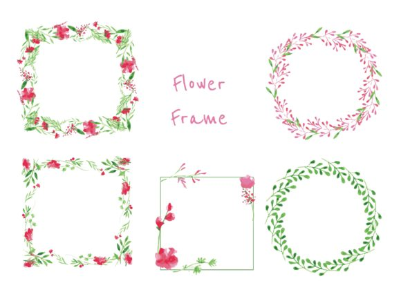 Water Color Flower Wreath in Pink Graphic Illustrations By little scar