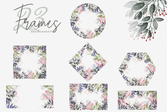 Watercolor Botanical Frames Graphic By 3Motional Image 3
