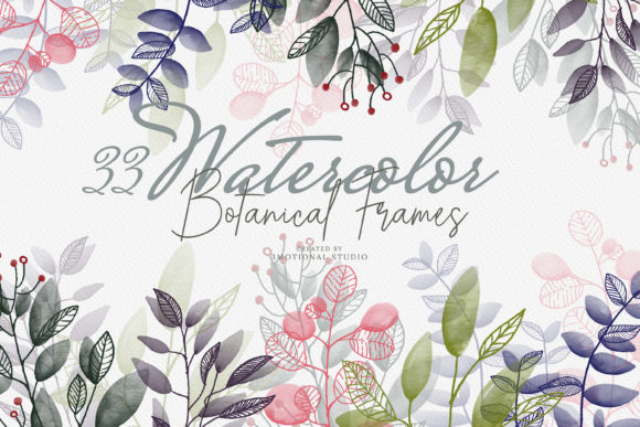 Print on Demand: Watercolor Botanical Frames Graphic Illustrations By 3Motional