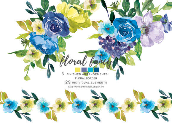 Watercolor Blue Lemon Soft Flowers Clip Graphic Illustrations By Patishop Art