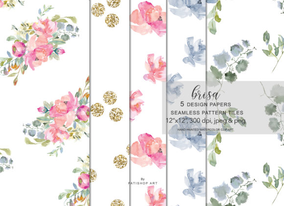 Watercolor Blush Flowers Pattern Set Graphic Patterns By Patishop Art