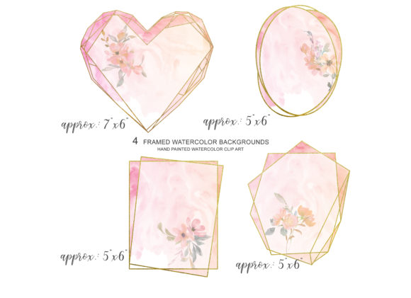 Watercolor Blush Gold Geometric Frames Graphic Illustrations By Patishop Art - Image 3