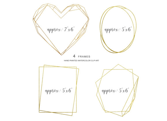 Watercolor Blush Gold Geometric Frames Graphic Illustrations By Patishop Art - Image 4