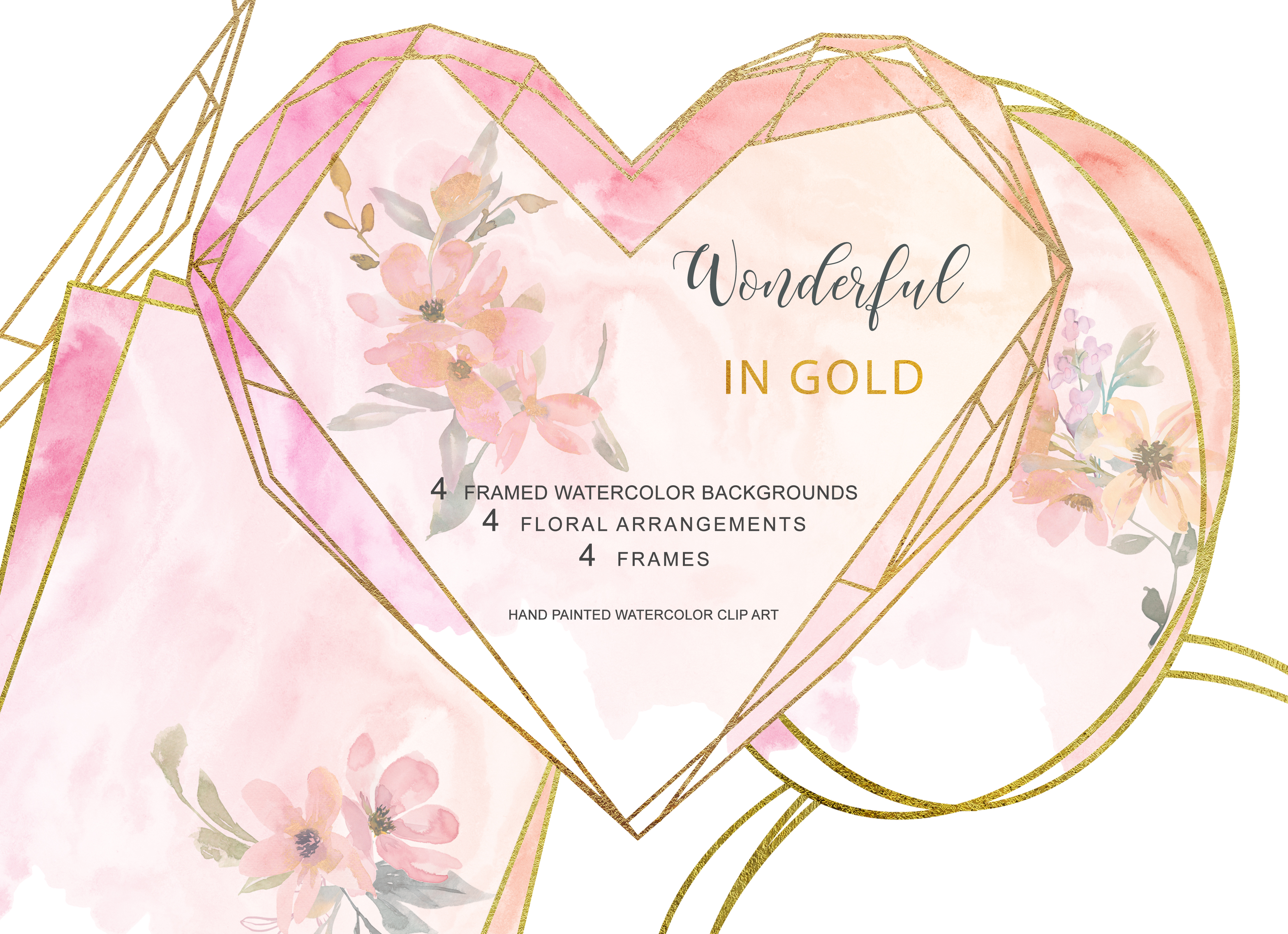 Download Free Watercolor Blush Gold Geometric Frames Graphic By Patishop Art for Cricut Explore, Silhouette and other cutting machines.
