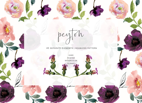 Watercolor Blush Pink MauveFlowers Graphic Illustrations By Patishop Art
