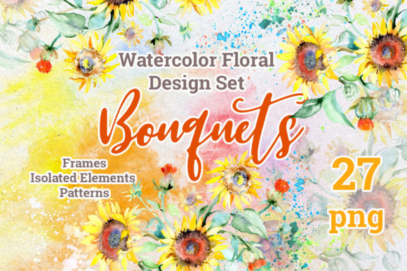 Print on Demand: Watercolor Bouquets with Sunflowers PNG Graphic Illustrations By MyStocks