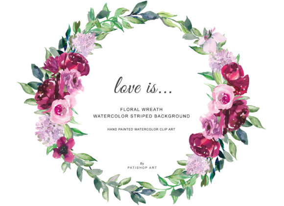 Watercolor Burgundy Pink Flowers Wreath Graphic Illustrations By Patishop Art - Image 2