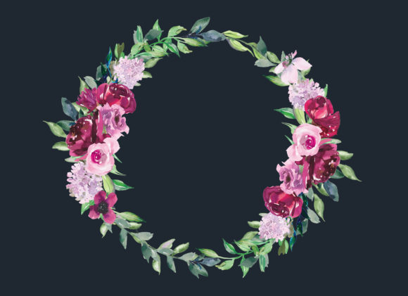 Watercolor Burgundy Pink Flowers Wreath Graphic Illustrations By Patishop Art - Image 4