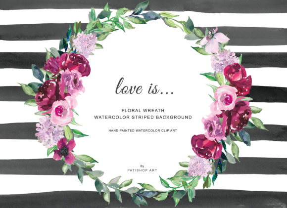 Watercolor Burgundy Pink Flowers Wreath Graphic Illustrations By Patishop Art