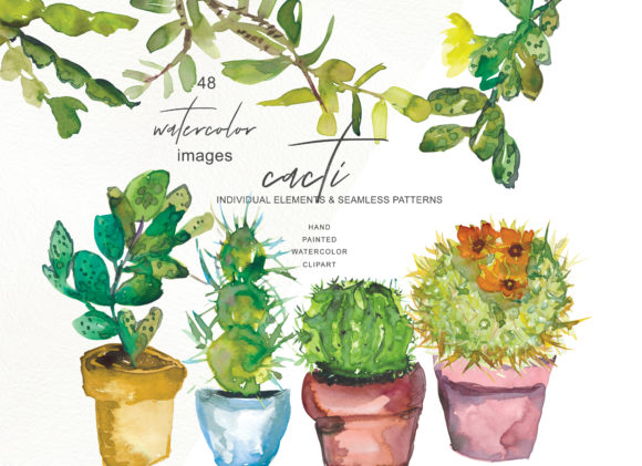 Download Free Watercolor Cactus Clip Art Collection Graphic By Patishop Art SVG Cut Files