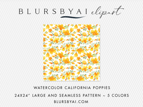 Download Free Watercolor California Poppies Patterns Graphic By Blursbyai for Cricut Explore, Silhouette and other cutting machines.