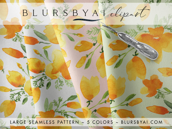 Watercolor California Poppies Patterns Graphic Patterns By blursbyai